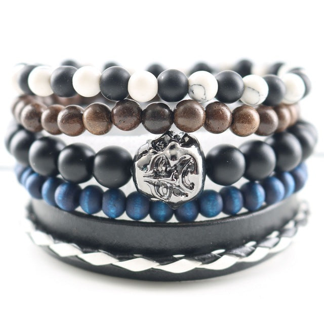 Fashionable Beads Bangle with Leopard Head