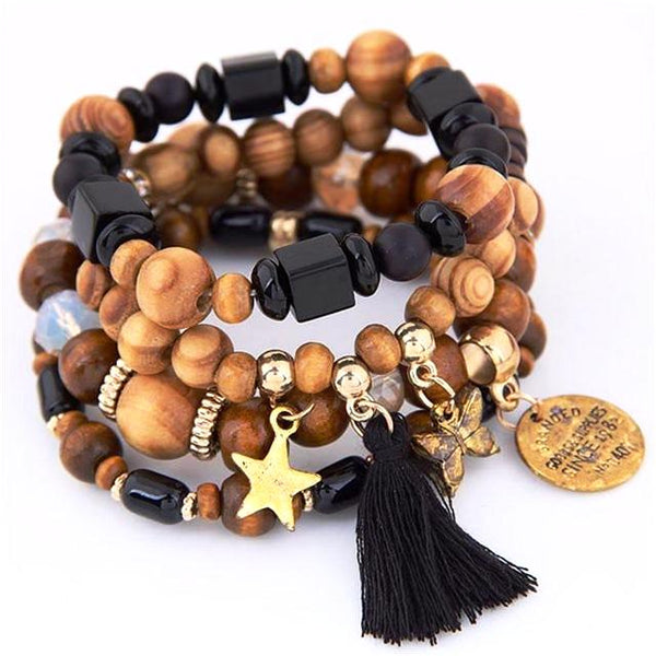 Ethnic Wood Bead Bracelet