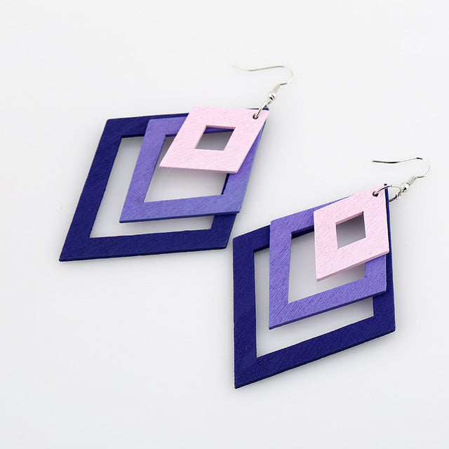 Geometric Rhombus Drop Hanging Earrings