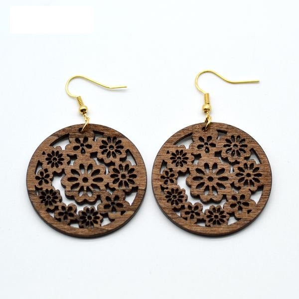 Stylish Wooden Leaf Design Drop Earrings