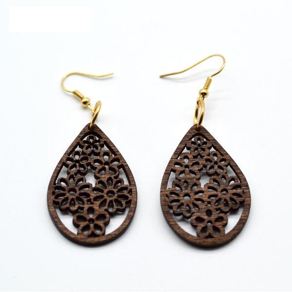 Flower Lattice Wooden Drop Earrings