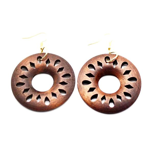 Big Round African Wood Earrings