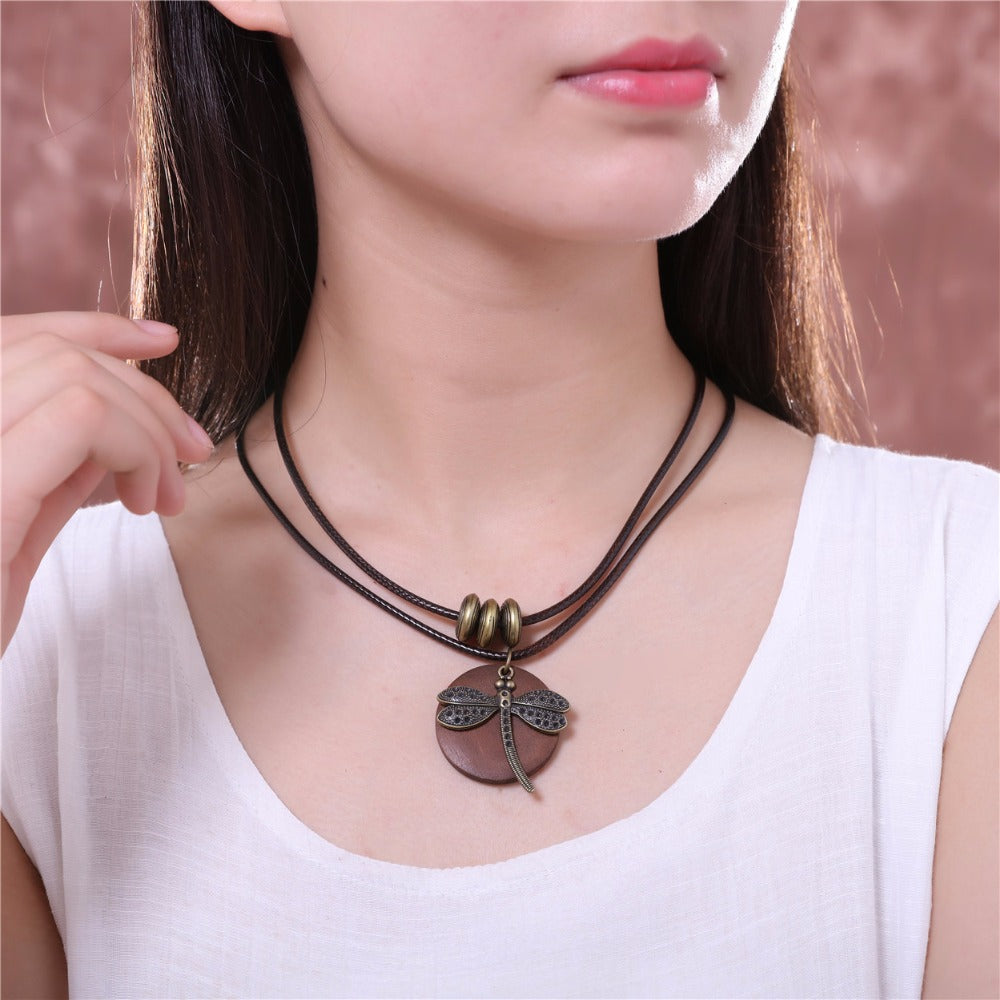 Boho Style Necklace with Wooden Dragonfly Pendant