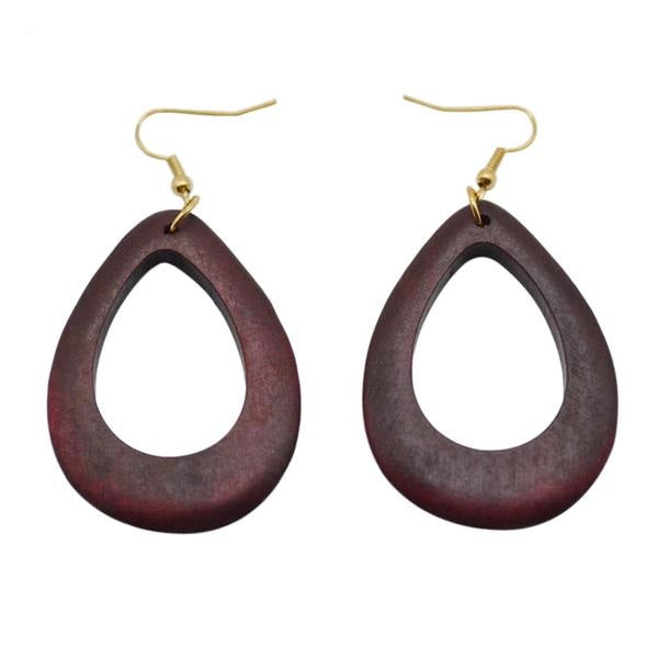 Fashionable Wooden Round Drop Earrings