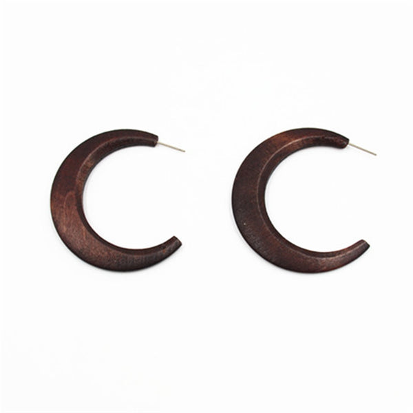 Simple Minimalist Korean Wood C Word Earrings