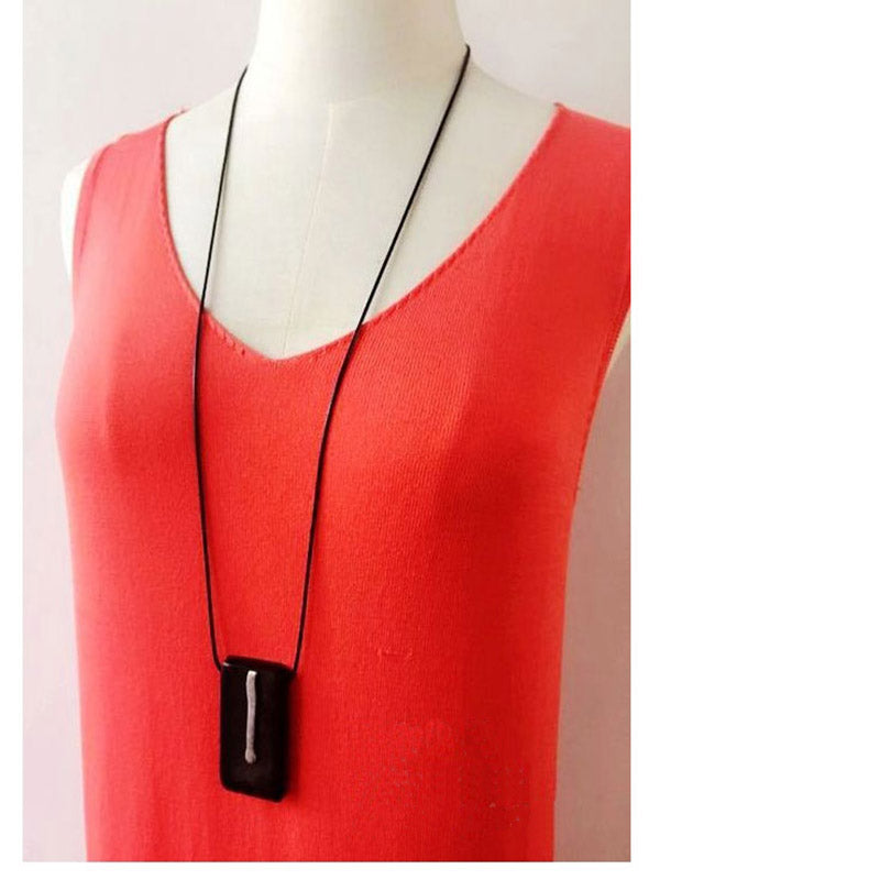 Necklace with Rectangle Shape Wooden Pendant