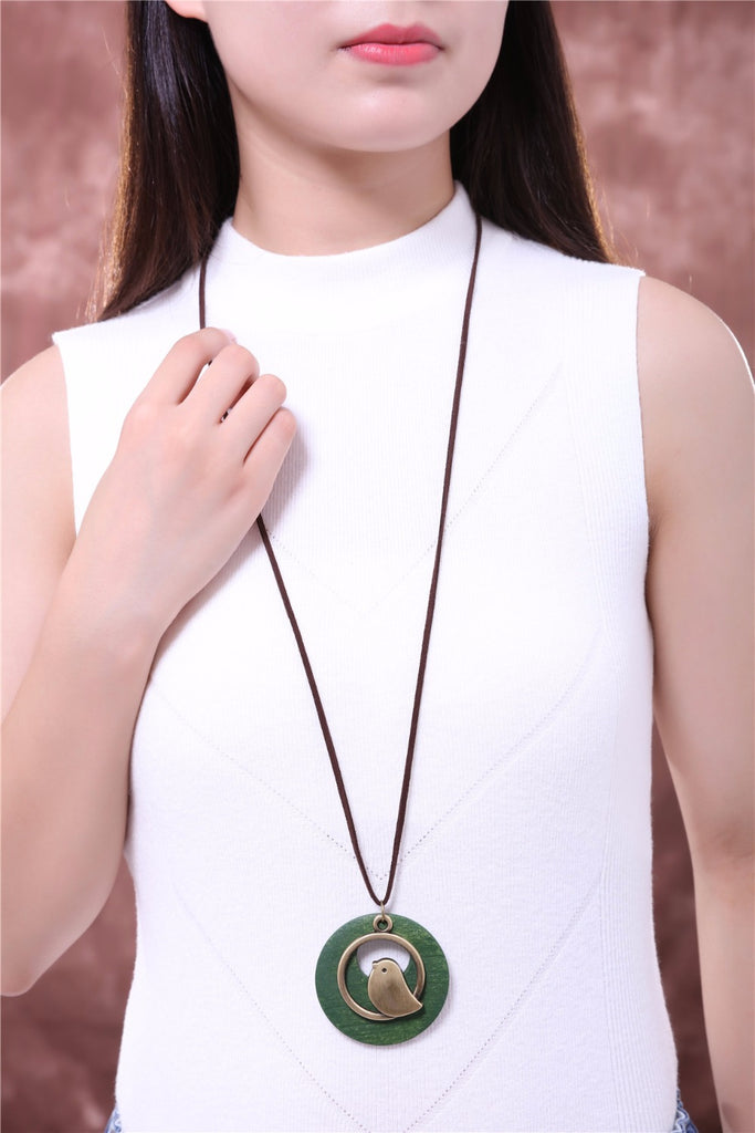 Statement Necklace with Wooden Bird Pendant