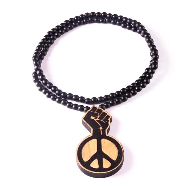 Trendy Wooden Beads Necklace with Laser Engraved Pendant