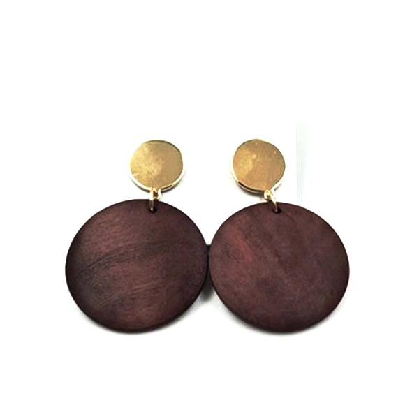 Classy Round Natural Wood Earrings