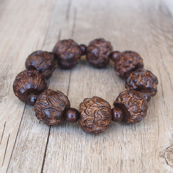 Men's Tibetan  Black Wood Bracelet