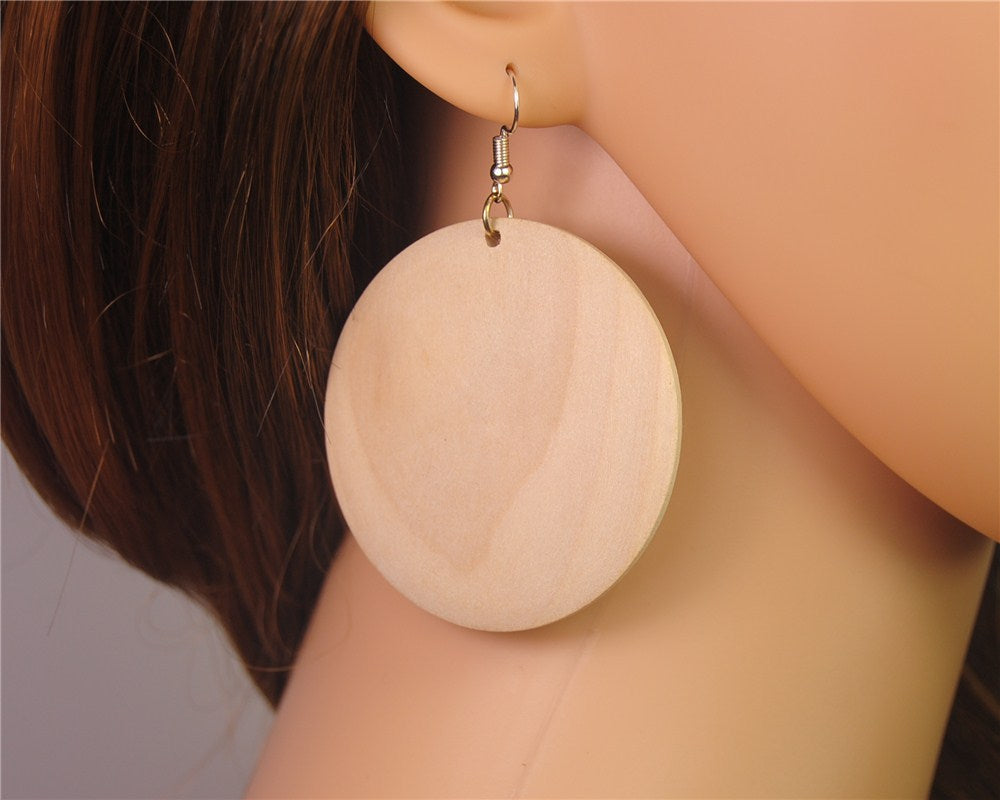 Simple and Elegant Wooden Round Earrings