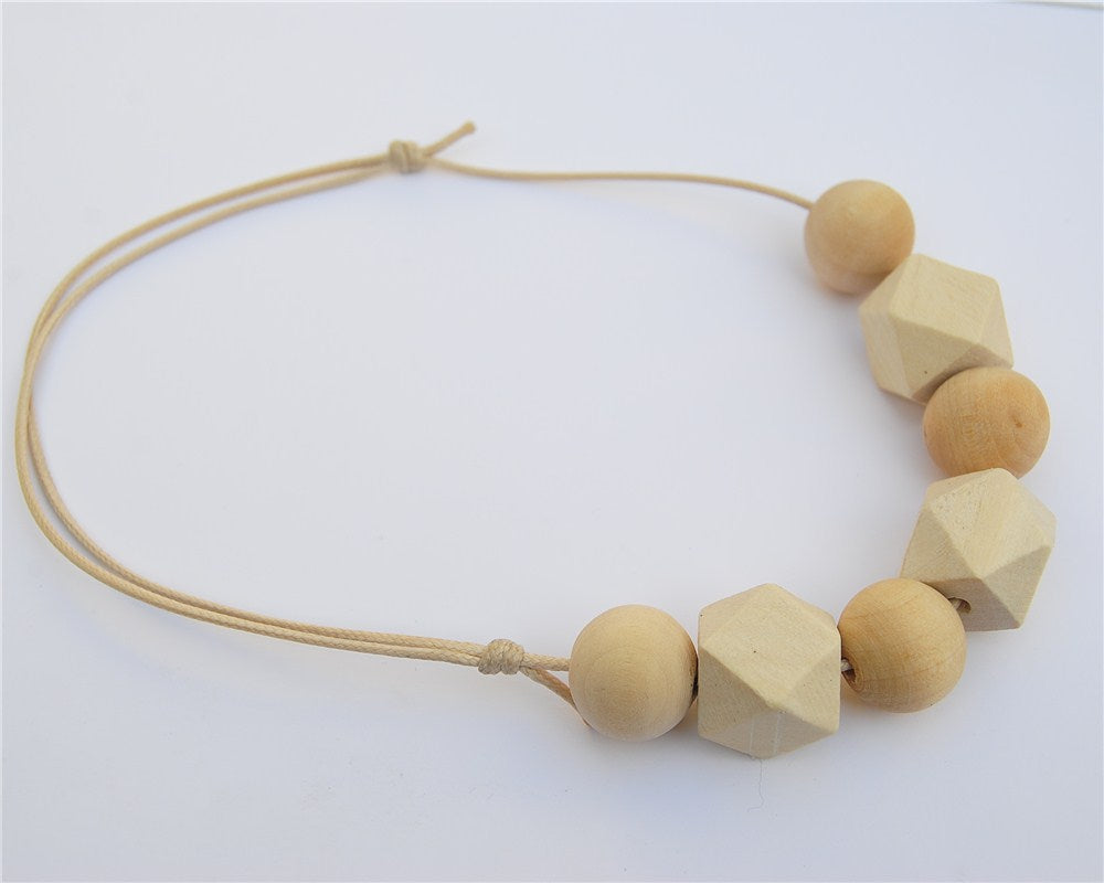 Ball and Polygon Wooden Necklace