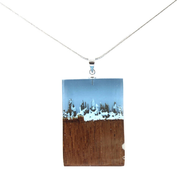 Necklace with Resin Wood Pendant