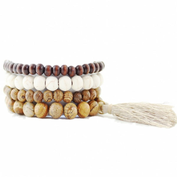 Brown wood & stone beads bracelet