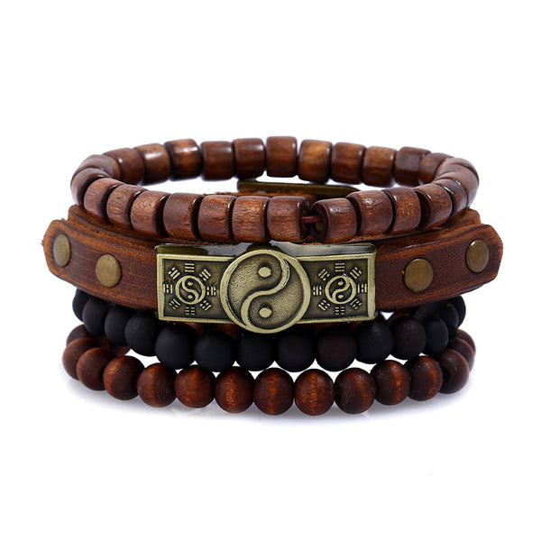 Wooden Yin Yang and Beads Bracelet