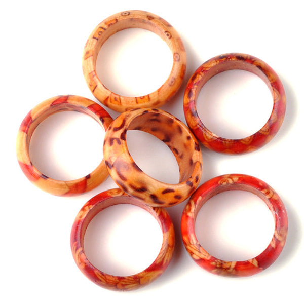 Natural Wood Mixed Color Rings