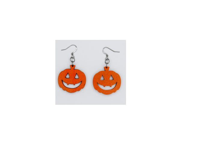 Wooden Pumpkin Earrings