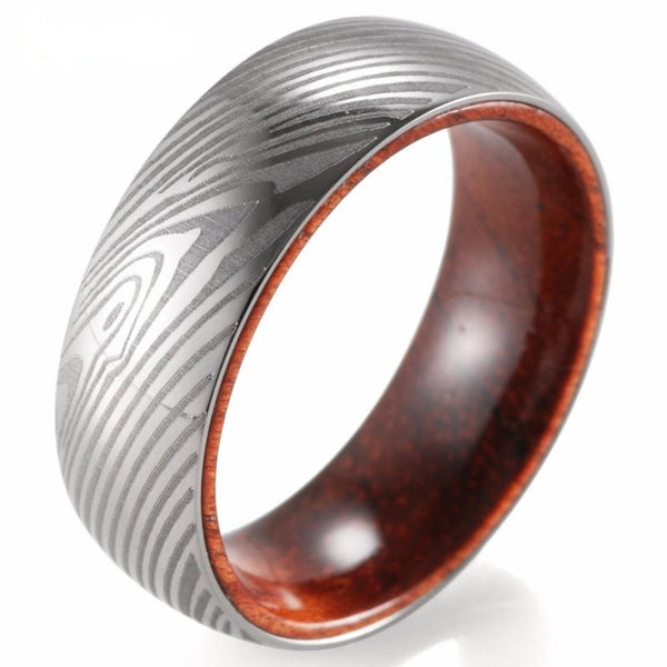 Men's 8mm Wide Titanium with Mahogany Inlay Silver Wedding Band