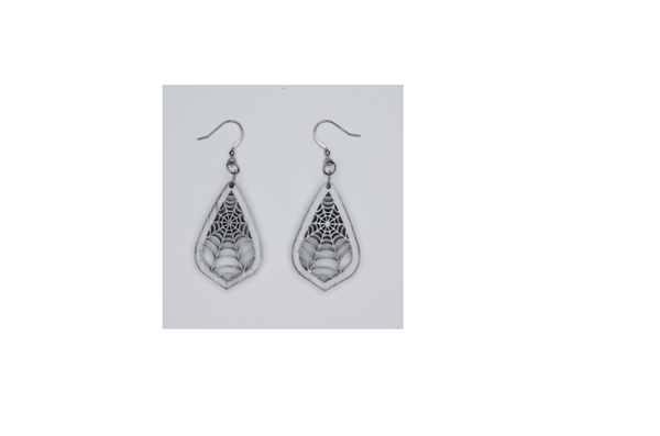 Wooden White Spiderweb Earrings