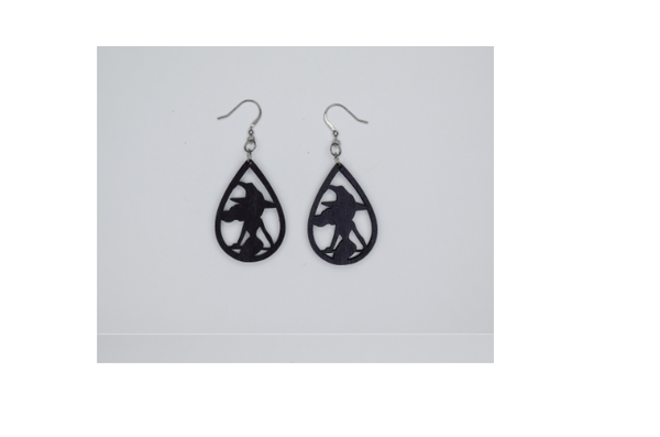 Wooden Witch Earrings