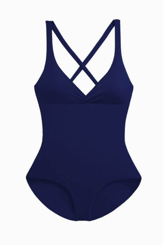 Swimsuit reversible to solid navy
