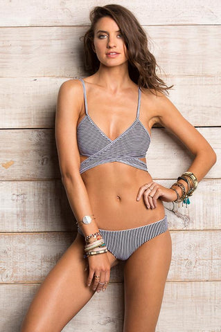 Wrap Bikini Top with Stripes Maylana Swim
