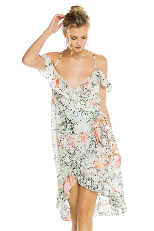 Agua bendita animal print with floral detail dress features ruffle details throughout borders and an off the shoulder design with thin straps, provides open V neckline style