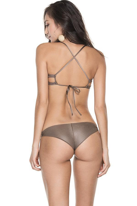 Agua Bendita woman's sporty swimmers handmade details moderate coverage low rise cheeky bottom