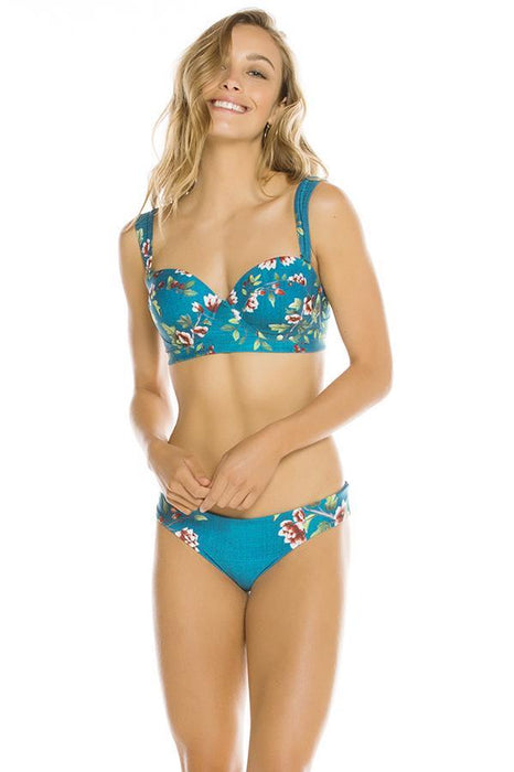 agua bendita underwire top features floral print and caged and tassel detail at back