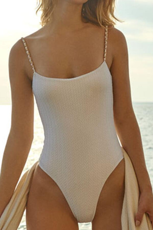Aquamanile swimwear white bathing suit with golden hardware details, high cut bottom and cheeky coverage