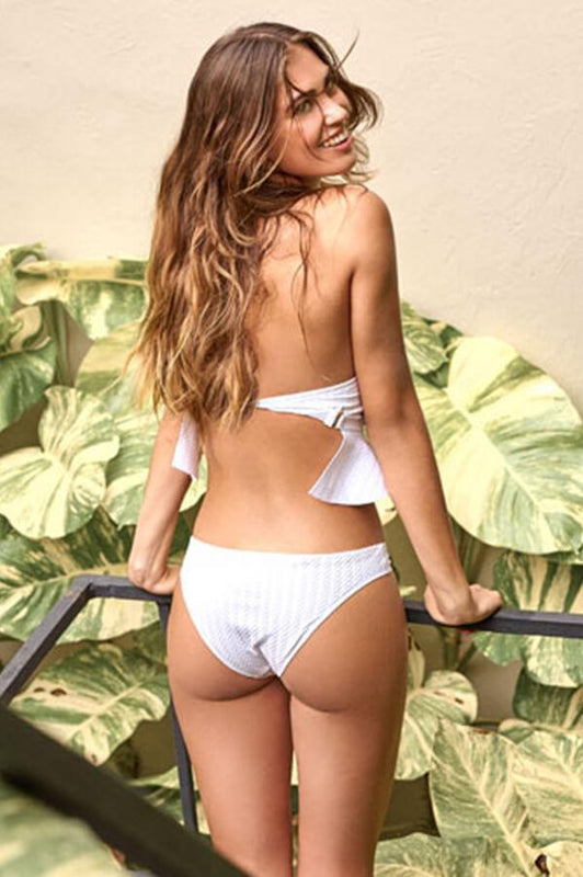 aquamanile swimwear white hipster bottom with textured fabic and moderate coverage