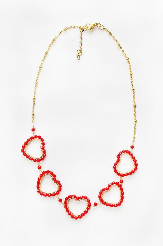 aurika handmade accessories golden necklace with heart shaped charms in red beads