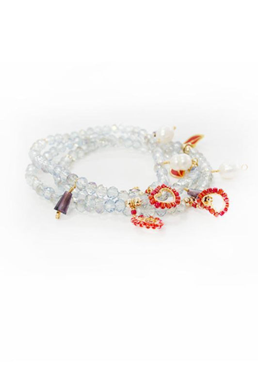 bracelet with translucent crystals and heart charms