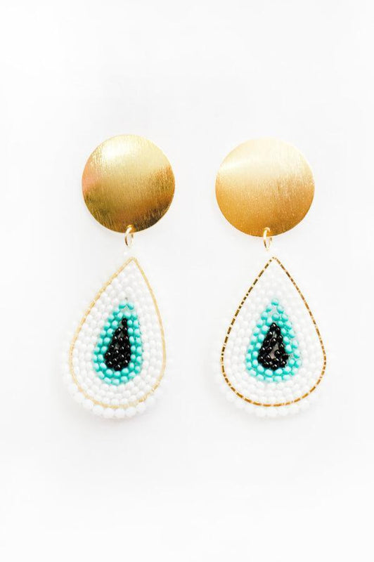aurika handmade teardrop stud earrings with multicolored beads and terdrop structure