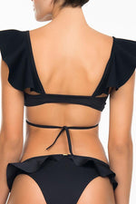 boamar swimwear black padded bralette with ruffles