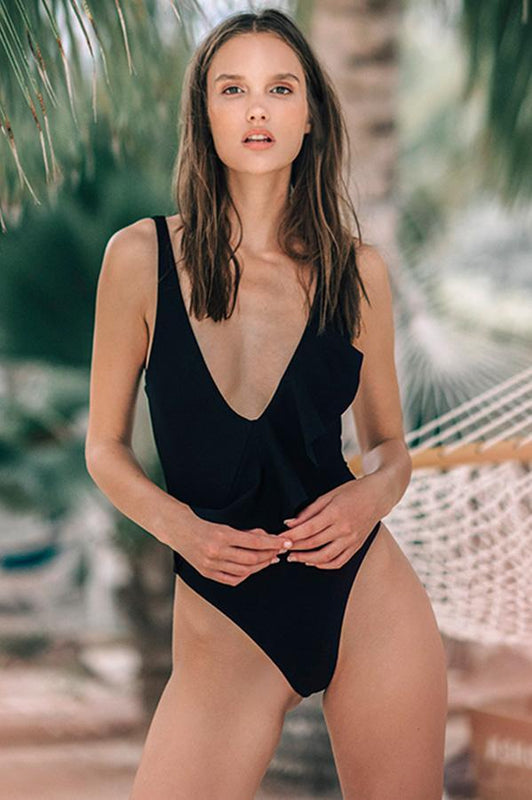Black one piece with plunging neckline by Boamar swimwear