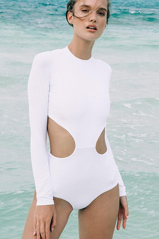 Boamar women white one piece provides cheeky coverage at rear and cut out details