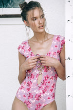 boamar woman floral One piece provides cheeky coverage at rear