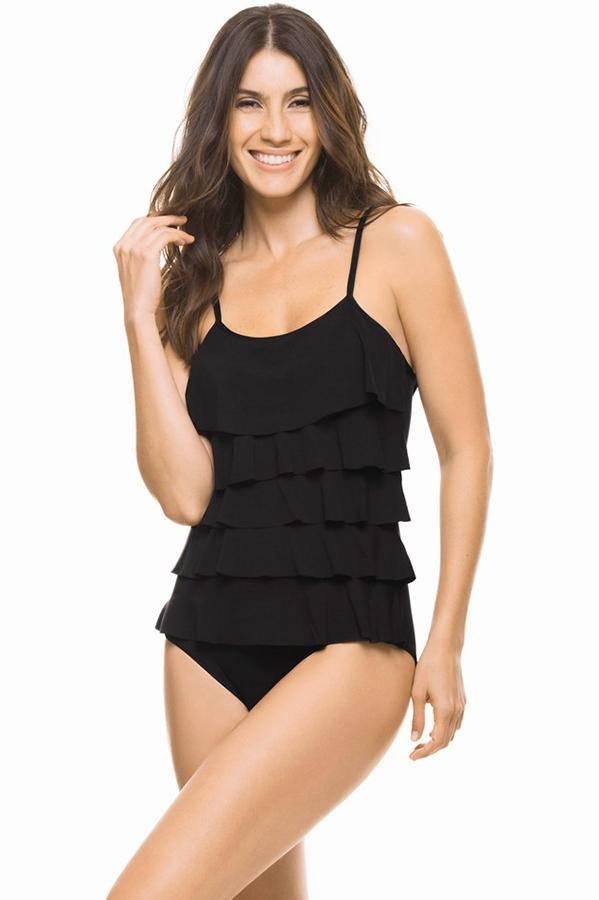 Estivo women's sexy black swimwear ruffled one piece