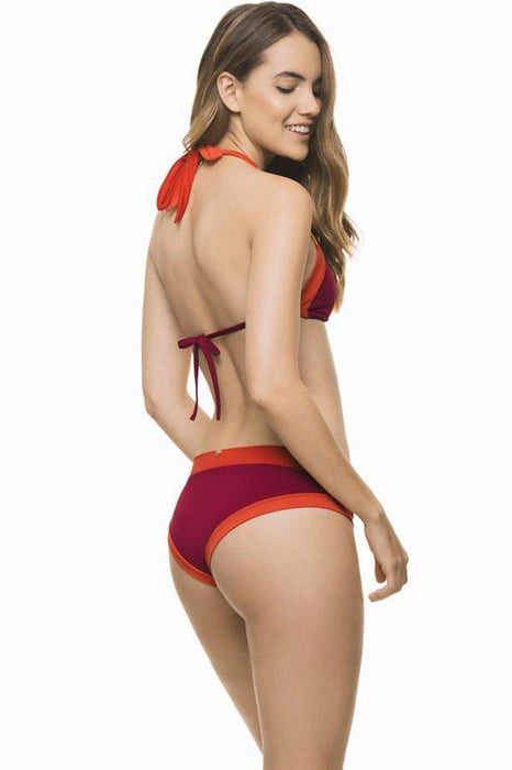 ESTIVO Young's red color block swimming suit hipster moderate coverage bottom