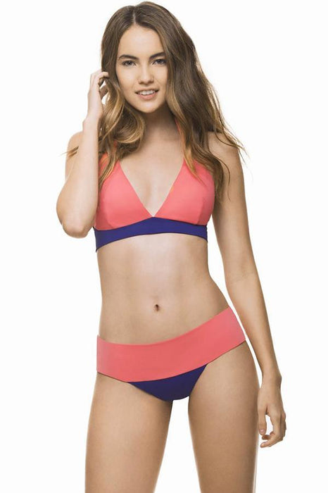 ESTIVO Young's exclusive pink color block removable cups swimsuit banded halter top