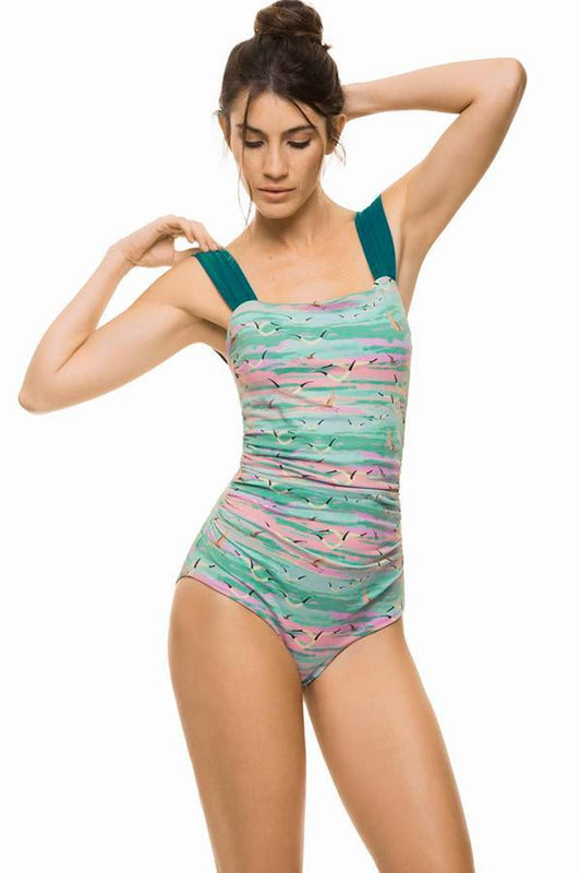 ESTIVO Women's multicolor print wide straps drapped swimsuit full coverage one piece