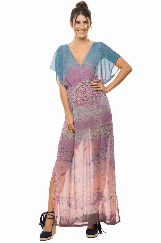 ESTIVO Women's exclusive printed sleeved long dress