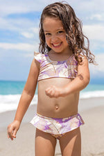maylana kids swimwear ruffled tropical print girl top