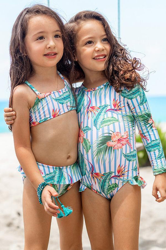 MAYLANA SWIMWEAR KIDS RASHGUARD WITH TROPICAL PRINT AND RUFFLES