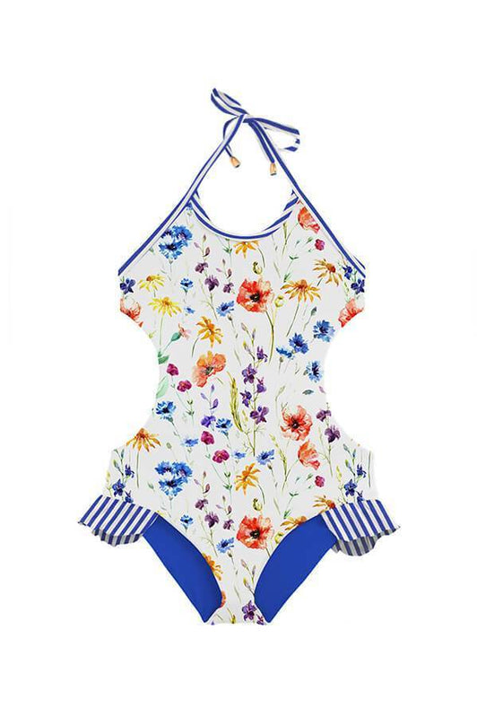 One piece floral kids swimsuit teen swimwear