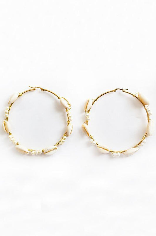 mag accessorires golden plated seashell hoops