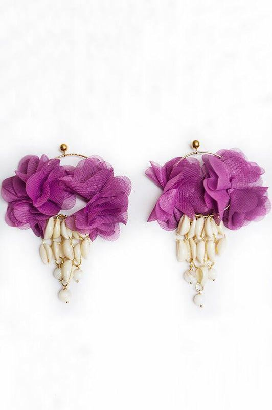 Mag accessories plum seashells and fabric flowers statement earrings