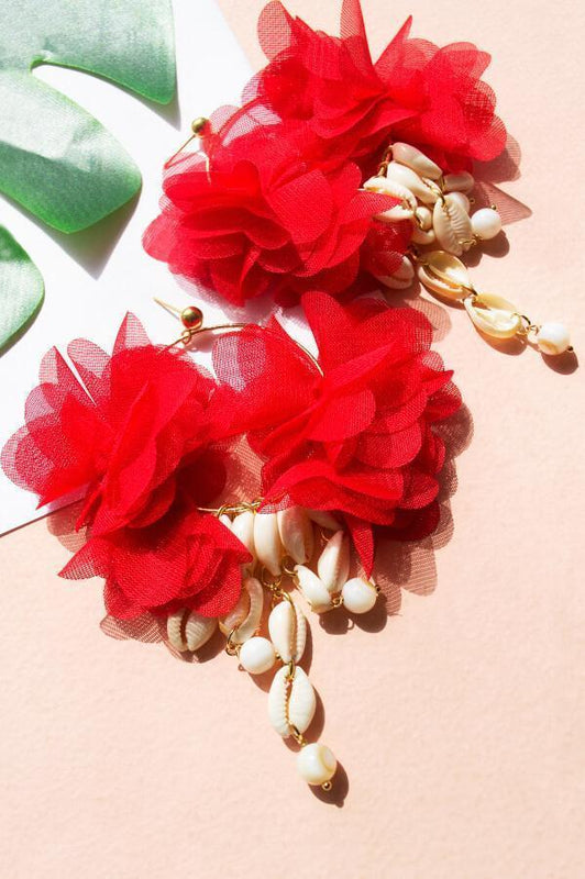 mag accessories statement red fabric flowers and seashells earrings