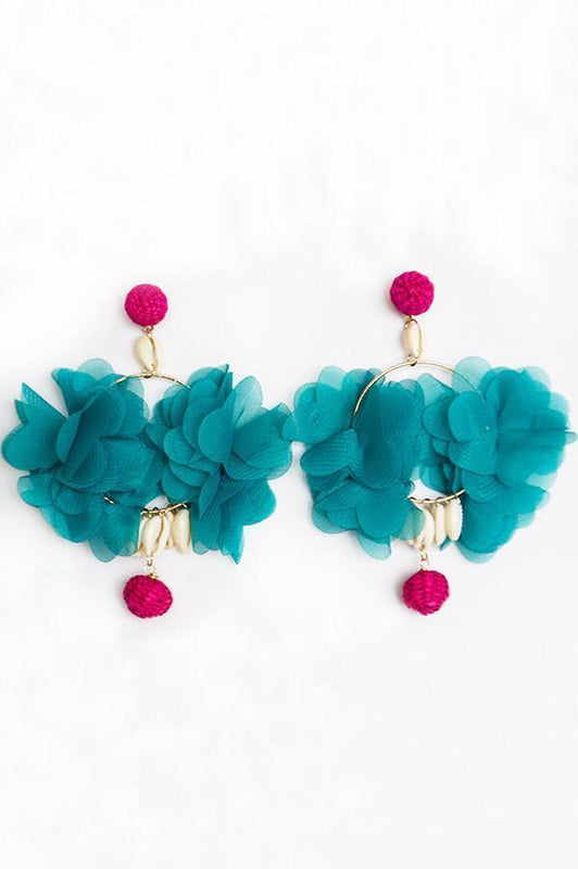 mag accessories aqua fuchsia statement earrings
